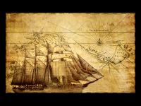 Старинная карта с кораблём